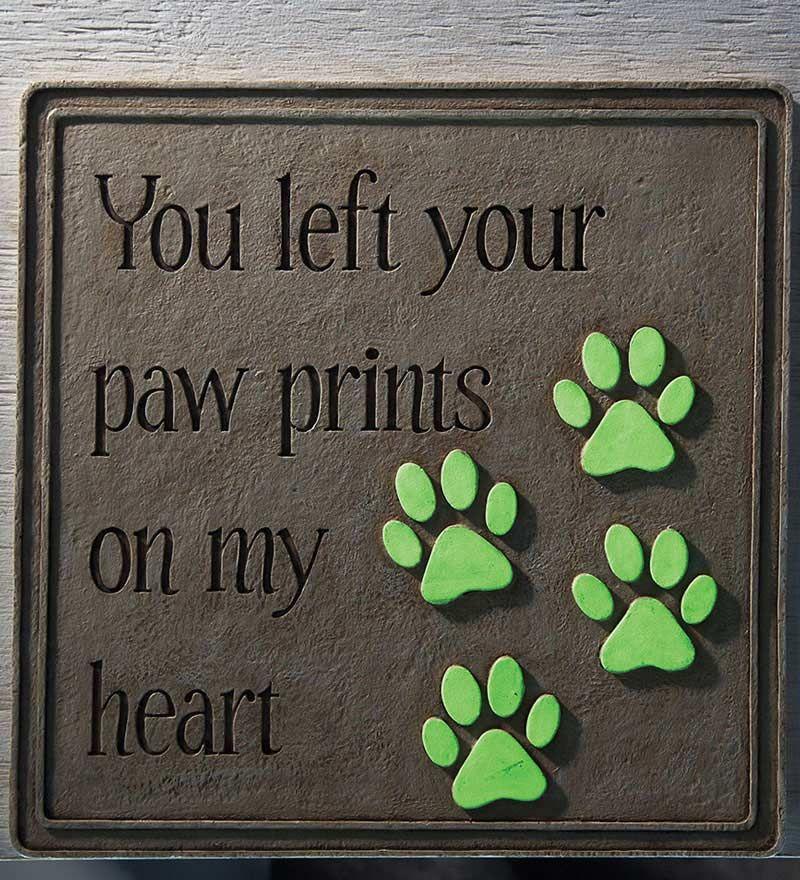 Cast Resin Paw Prints Garden Plaque Pathways Pet Memorial Plaque Cat Paw Print Pet Memorials