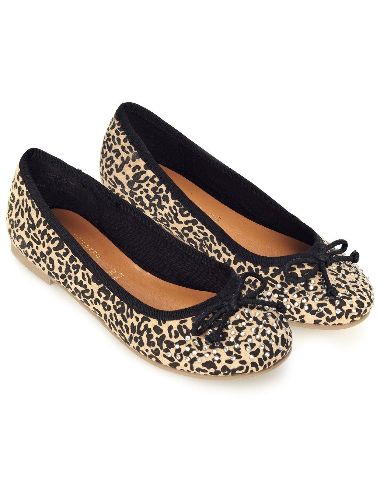 Heat Fix Leopard Print Bow Ballerina   Brown   Monsoon