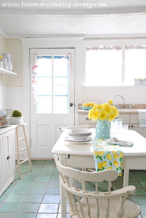 Spring decorating in farmhouse kitchen