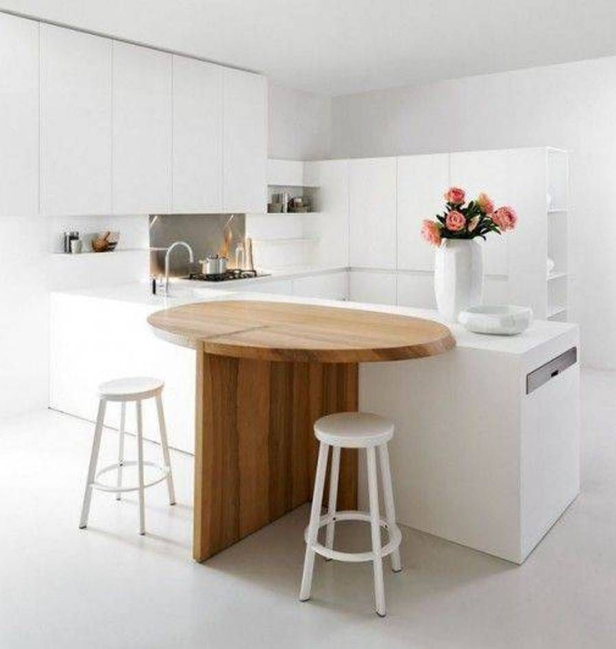 Superb White And Rustic Table In Sophisticated Small Kitchen Designs 2013