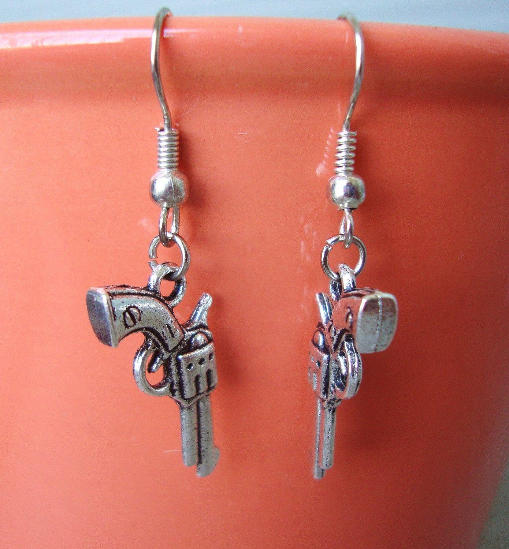 Silver Pistol / Gun Dangle Earrings by MadeInATX on Etsy, $7.50