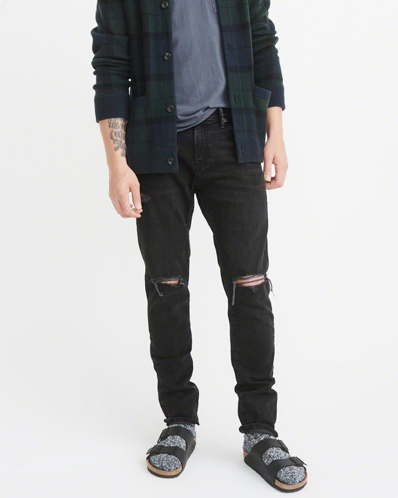 A&F Men's Ripped Athletic Slim Jeans in RIPPED Black - Size 34 X 32
