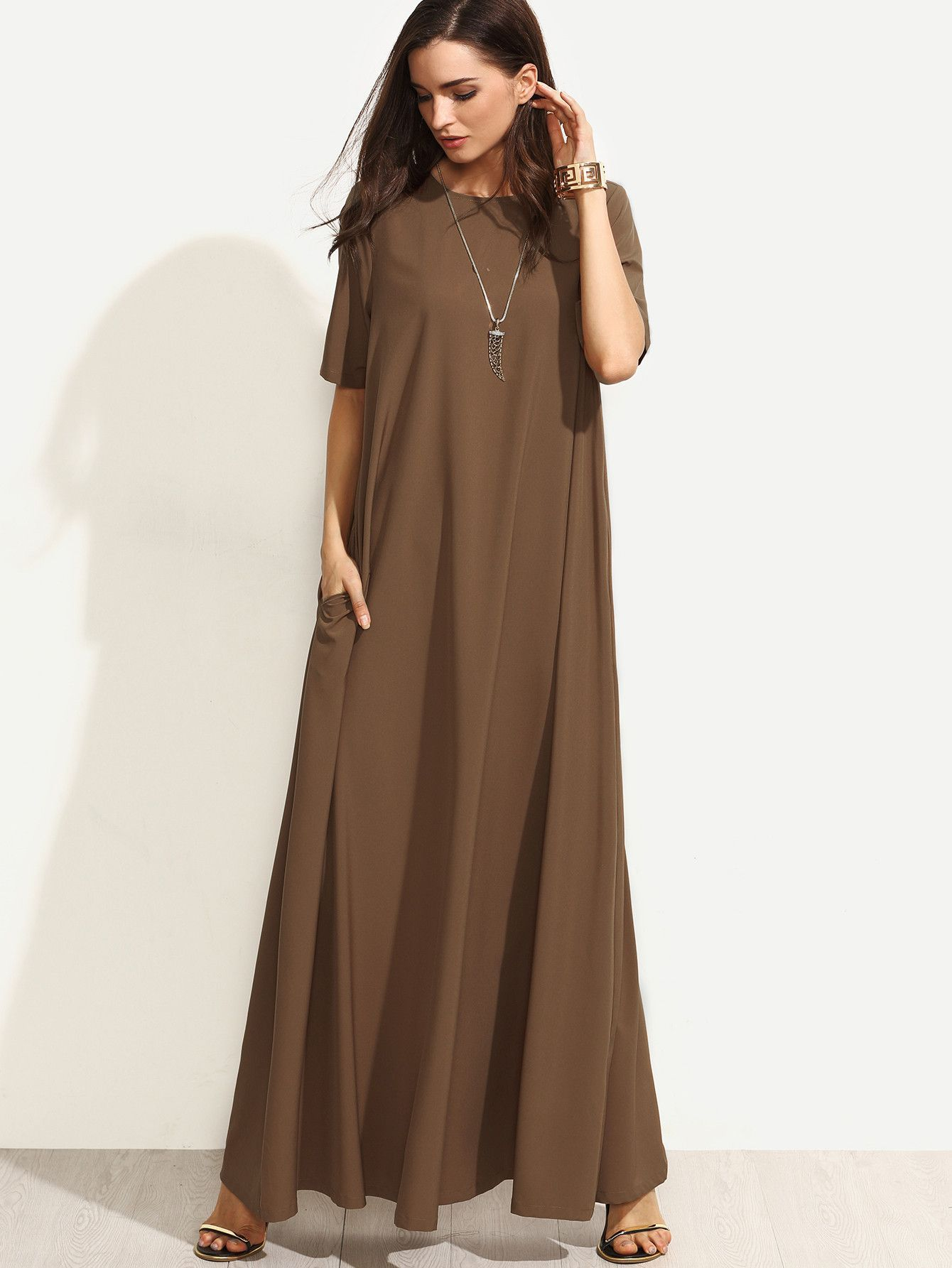 Brown short sleeve round neck zipper back maxi dress brown shorts