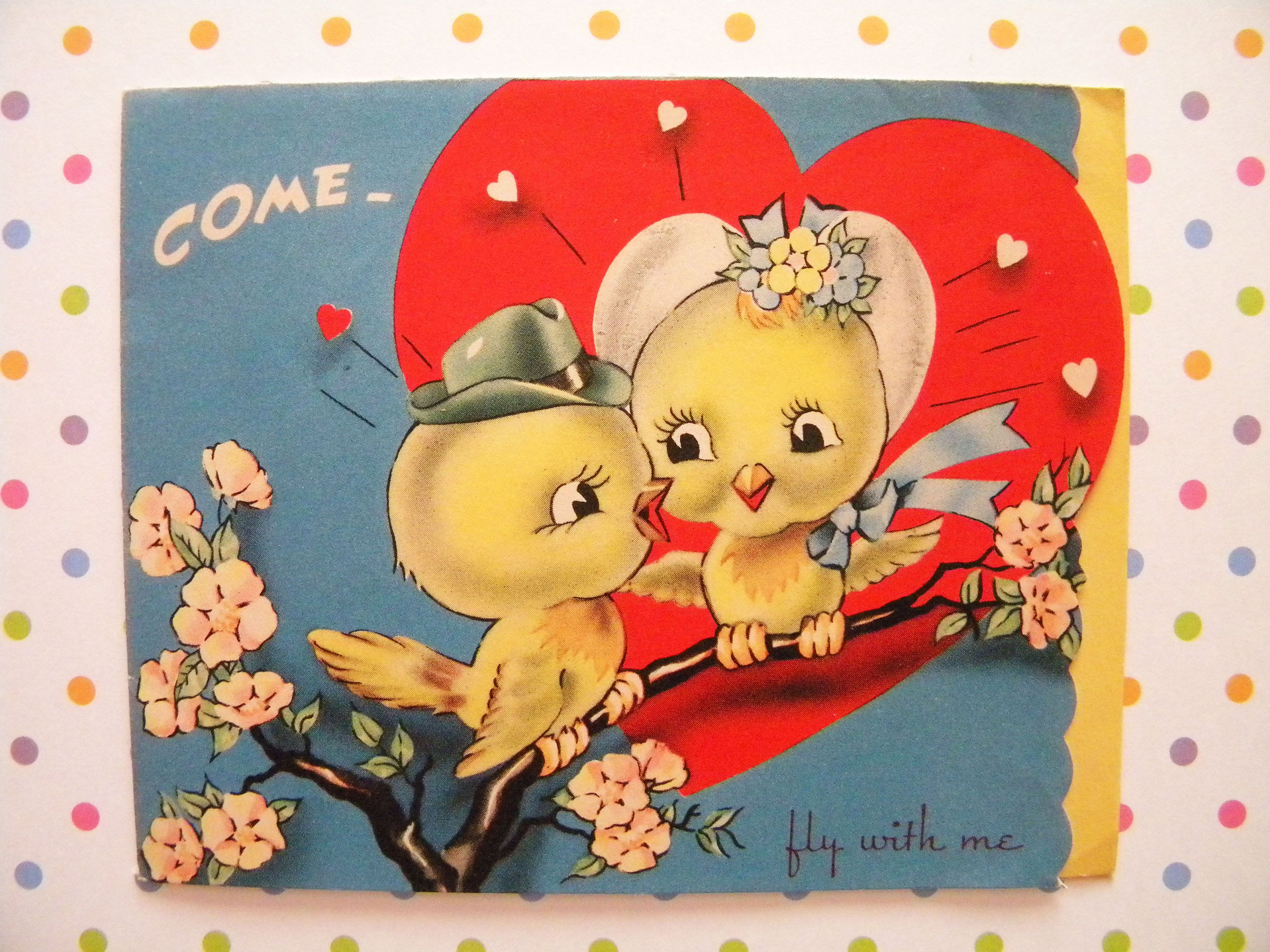 Vintage Valentines Day Card Two Love Birds Signed