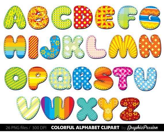Alphabet Clipart Color Alphabet Digital Alphabet Letters Clipart