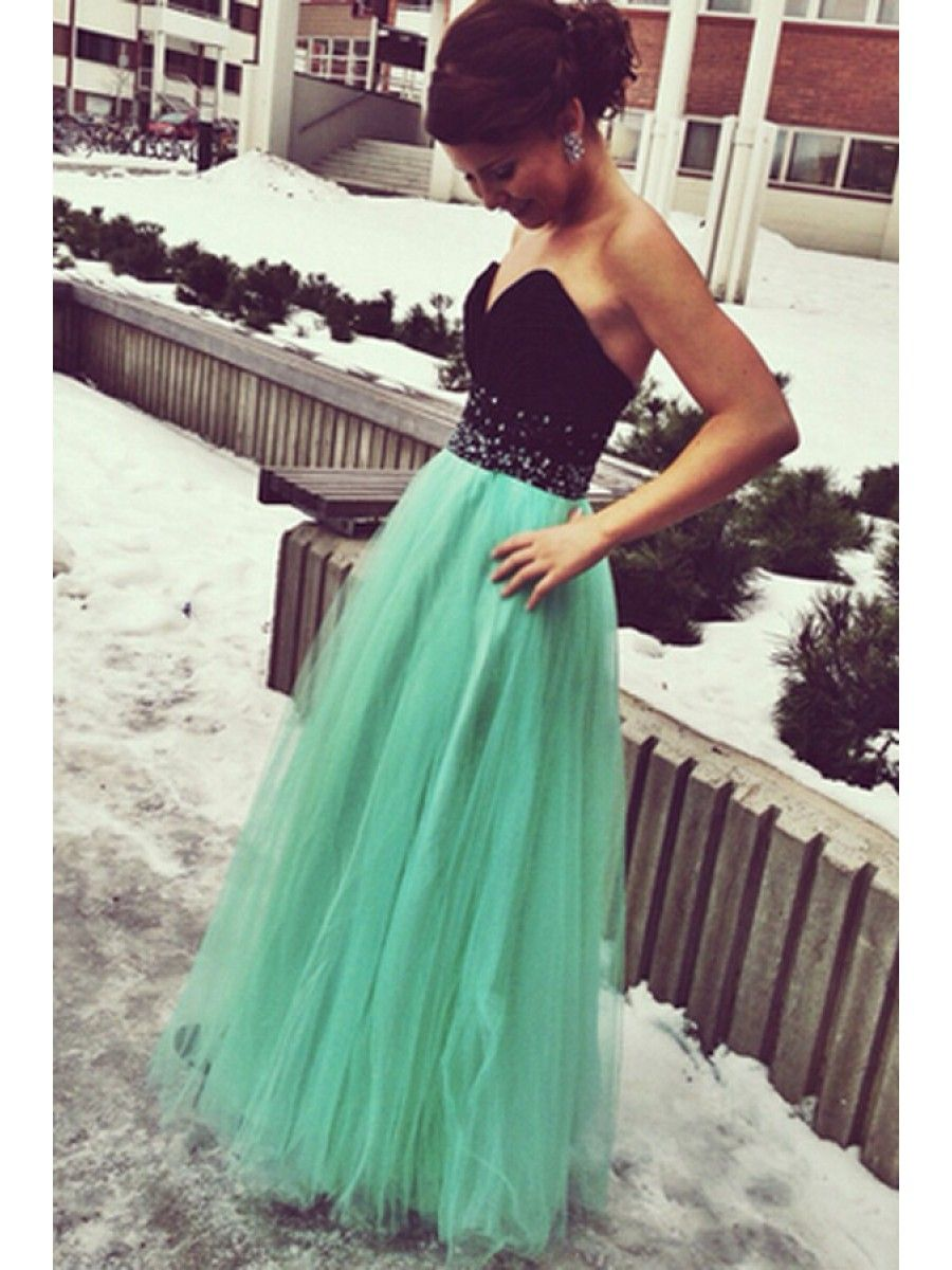Long black mint sweetheart beaded tulle prom dresses party evening