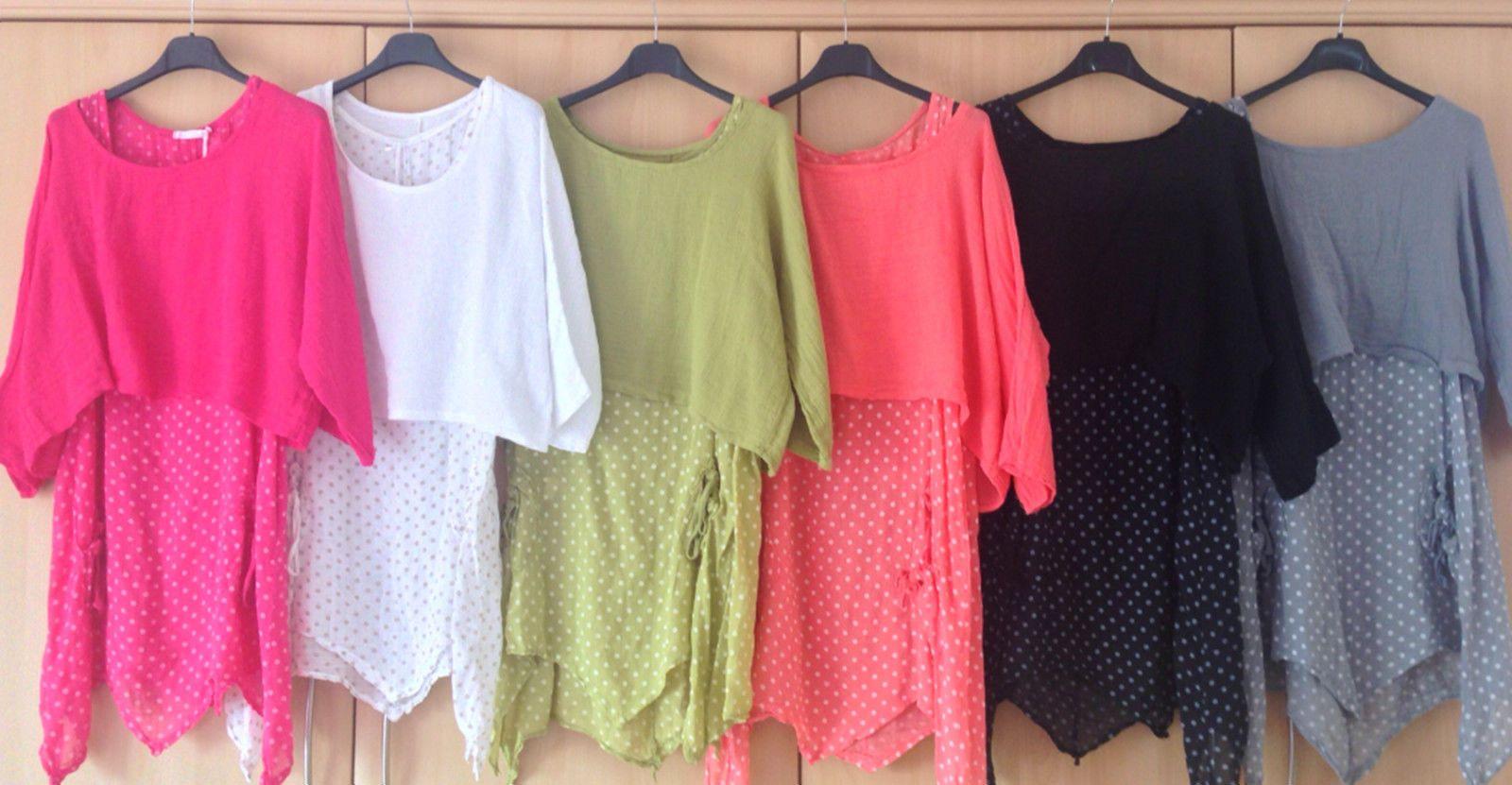 Ladies Italian Lagenlook Linen Spotted 2 Piece Layered Dress Shrug Top Set 10-16