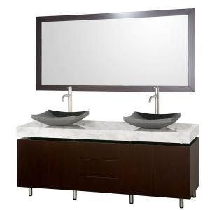 Malibu 72 in. Vanity in Espresso with Marble Vanity Top in Carrara White with Black Granite Sinks and Mirror-WCS300072ESCWGS1 at The Home Depot