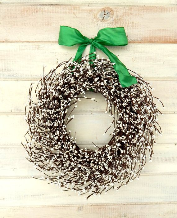 Spring Wreath-St Patricks Day Decor-Door Wreath- WHITE BERRY Wreath-Rustic Home Decor-Scented Wreath-Custom Wreaths-Choose Ribbon and Scent
