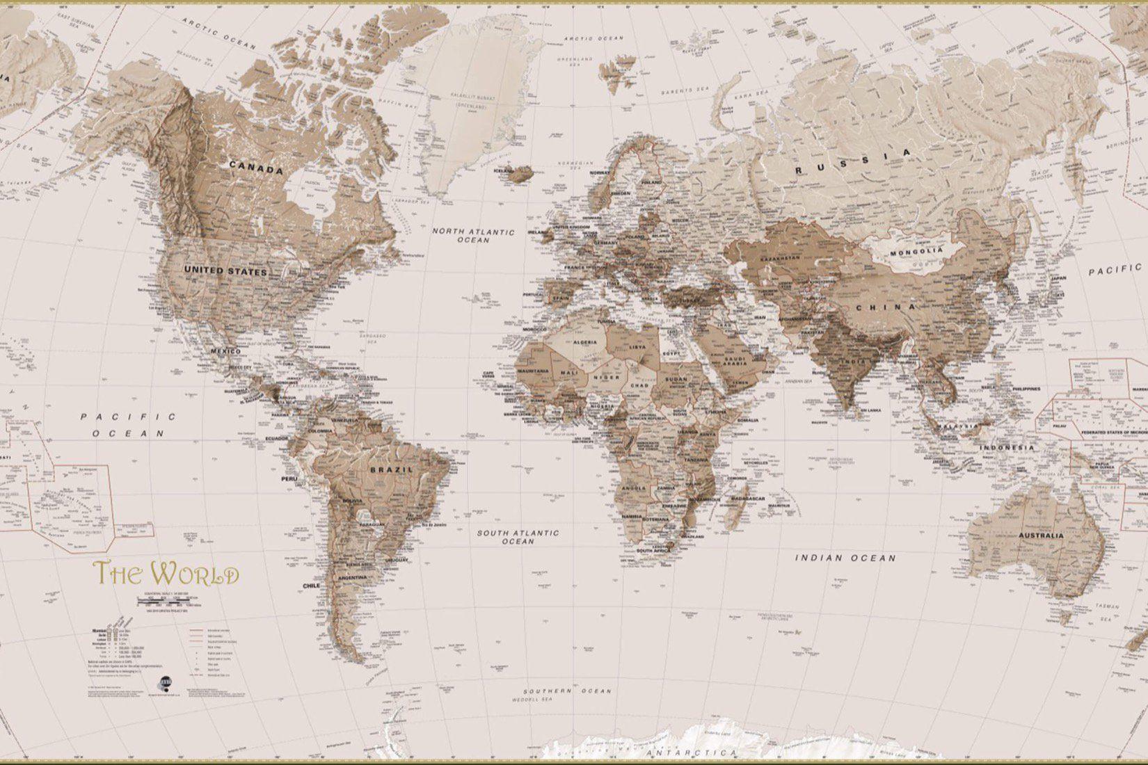 Earth Tone World Map Wall Mural custom