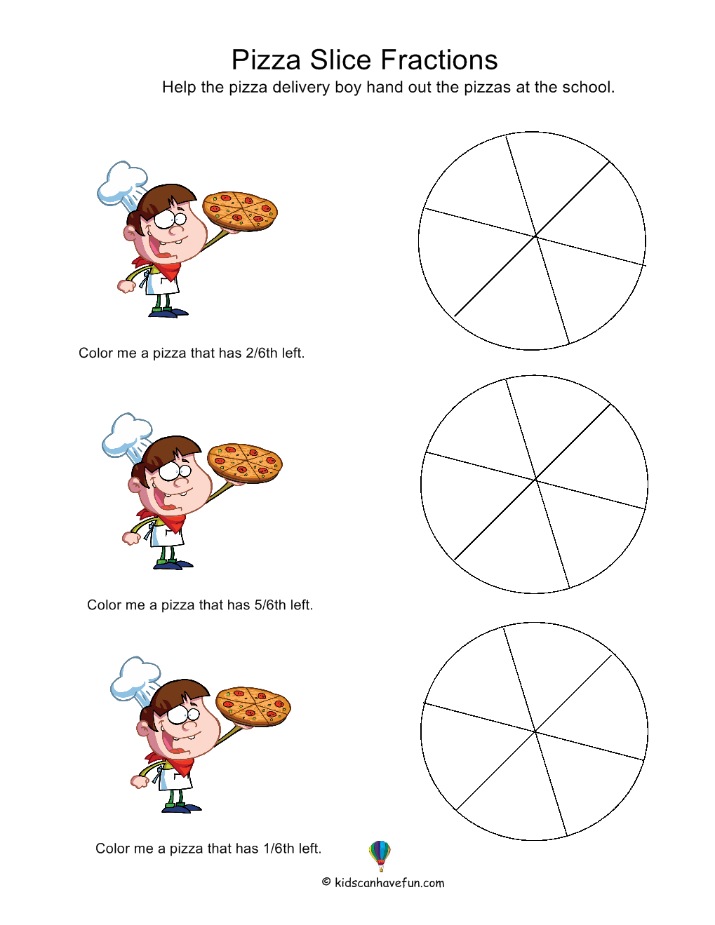 Pizza lessons and a pizza coloring page printable - Pizza Slice Fractions Worksheet Amazing Resource For Worksheets Of All Kinds Must Use In