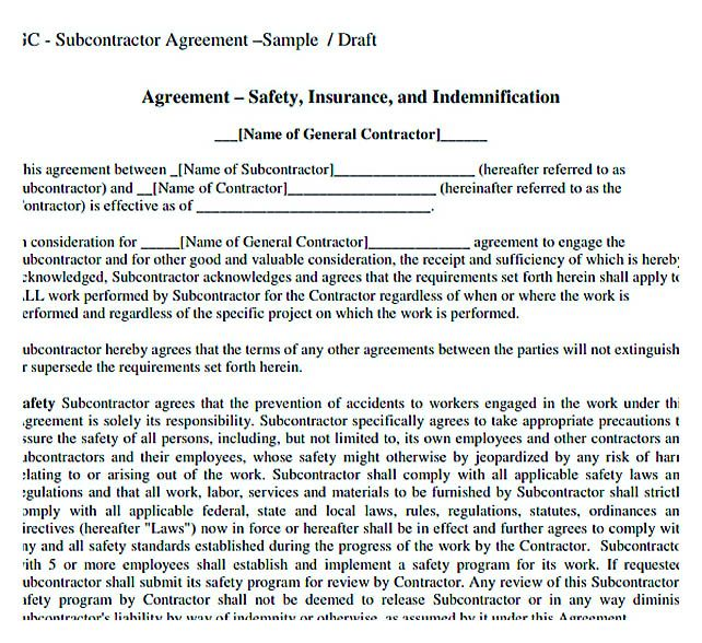Sample Subcontractor Agreement Template