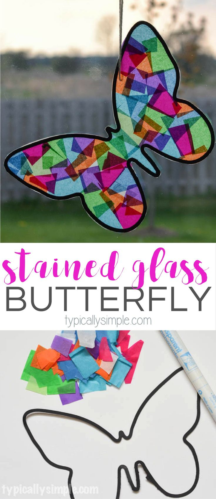 Stained glass butterfly craft a fun spring craft to make with the kids using tissue paper and black construction jeuxipadfo Gallery