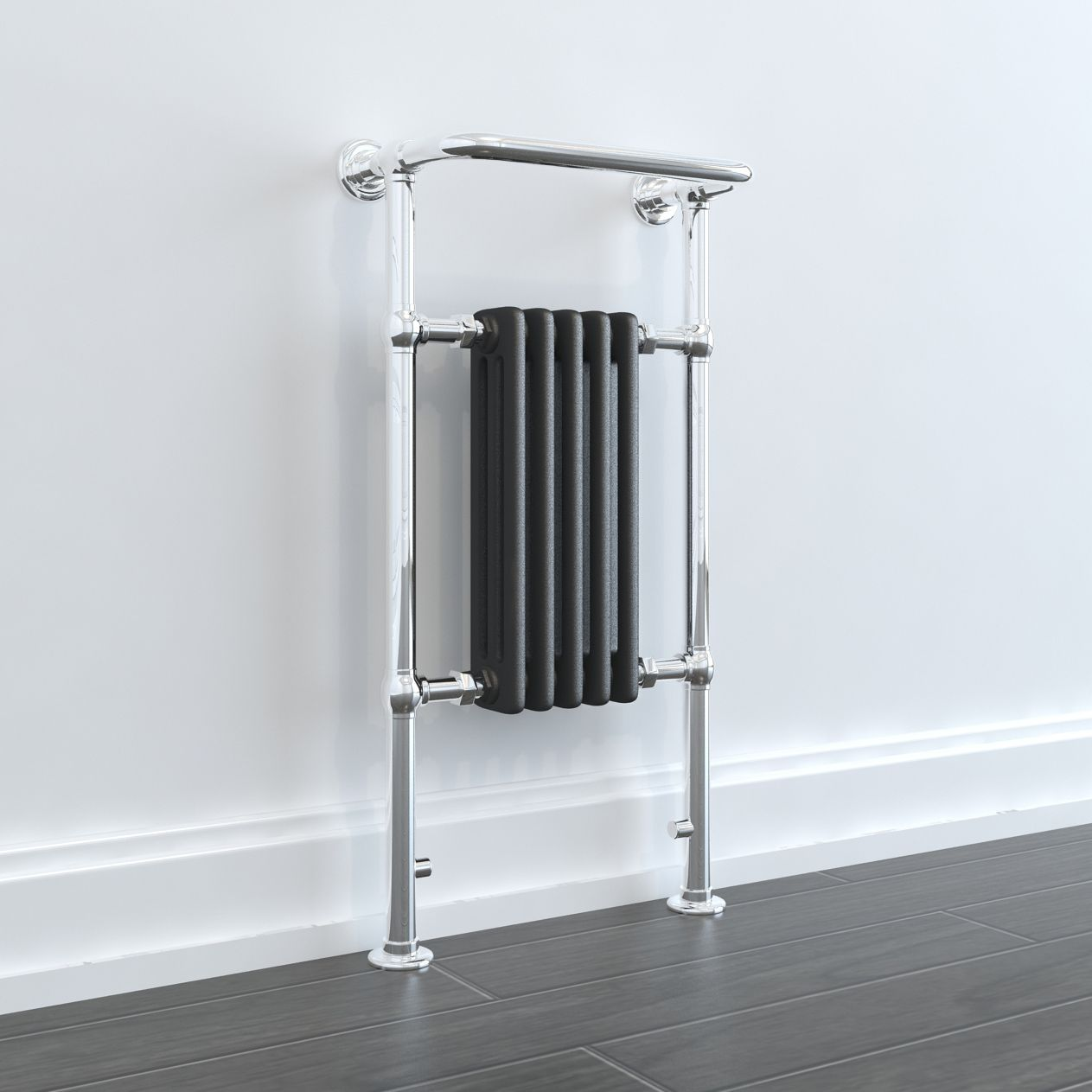 Bellatrix Traditional Victorian Electric Radiator With Towel Rail Chrome White Grey Heated Towel Rail Towel Rail Victorian Radiators