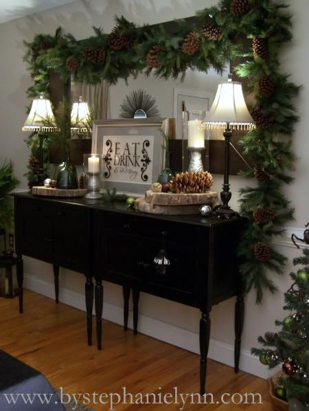 when you start with a gorgeous sideboard like this one the bar starts pretty high for this the perfect christmas decorating touch - When To Start Decorating For Christmas