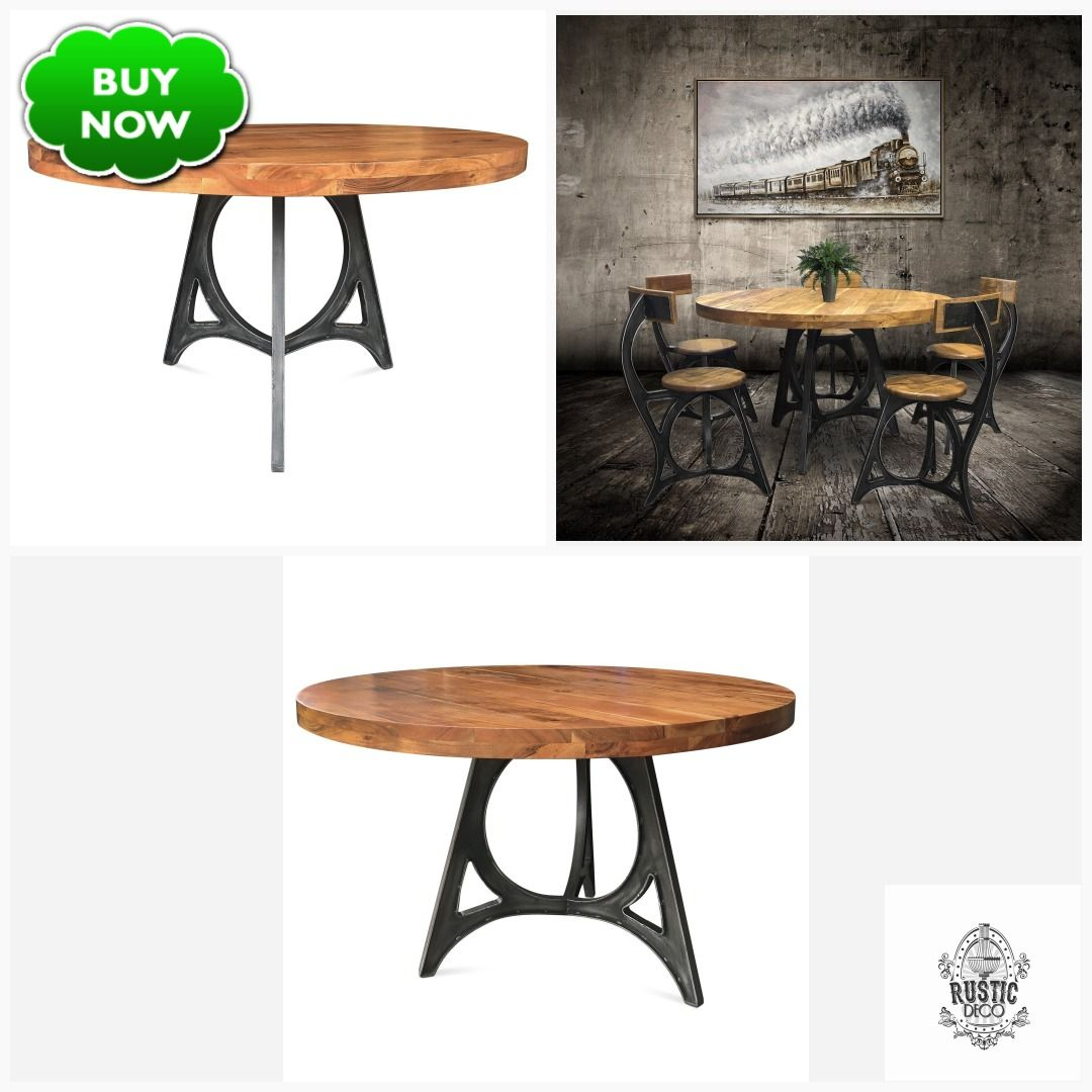 Art Deco Industrial Dining Table - Iron Base - 48
