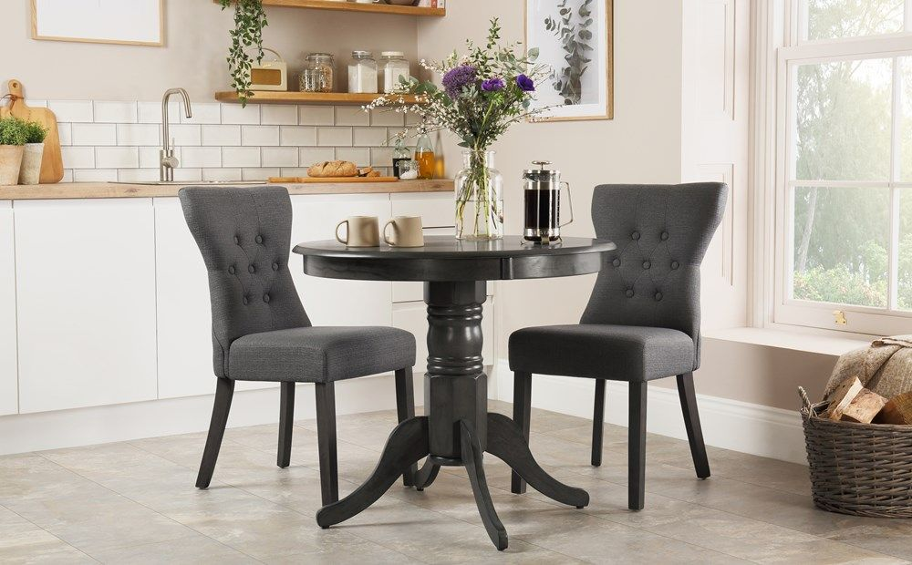 Kingston Round Grey Wood Dining Table With 2 Bewley Slate Fabric