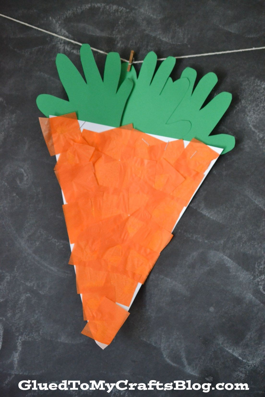 Handprint Tissue Paper Carrot