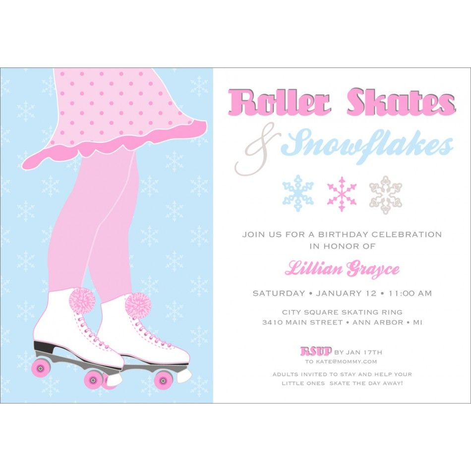 Roller Skates and Snowflakes Birthday Party Printable Invitation-$18 ...
