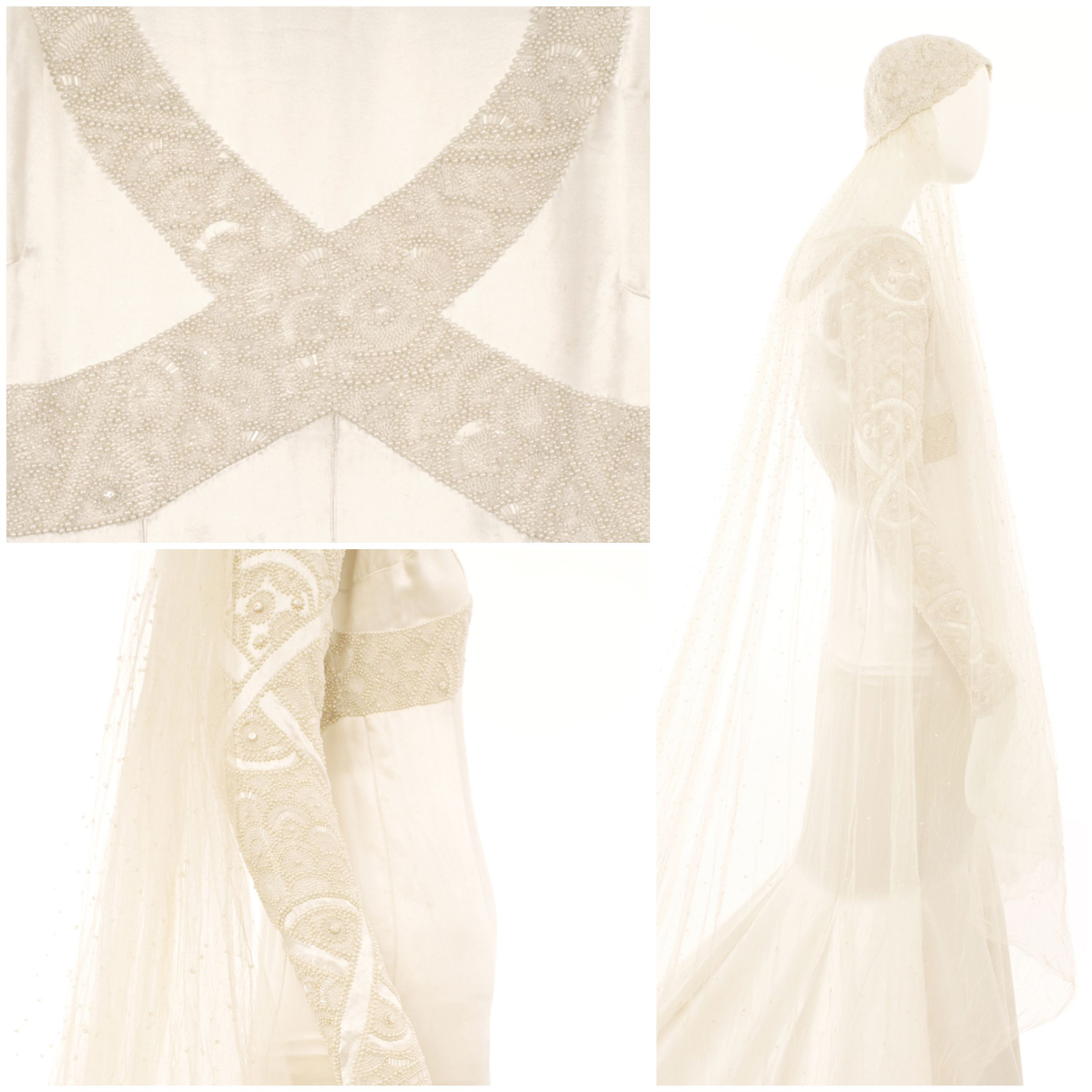 Vintage wedding dress under 500  Closeup details of a Norman Hartnell haute couture wedding dress