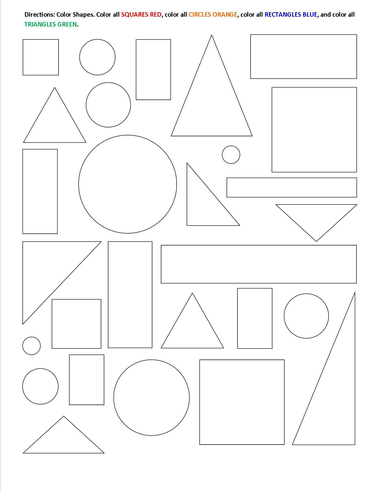 Color the Shapes Worksheets Kid Stuff Math & Money