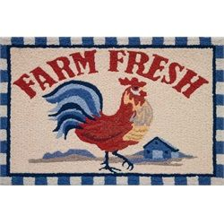 Farm Fresh Rooster Blue And Red Kitchen Accent Area Rug 21