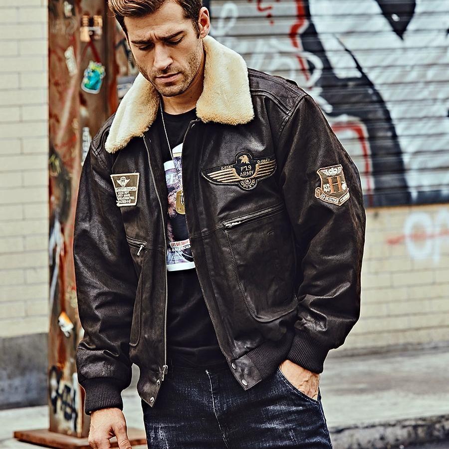 Men S Winter Genuine Leather Warm Bomber In 2021 Men Winter Zipper Outerwear Leather Jacket [ 900 x 900 Pixel ]