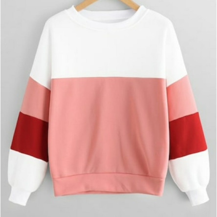 Red, Pink & White Colorblock Crewneck Pullover Sweatshirt