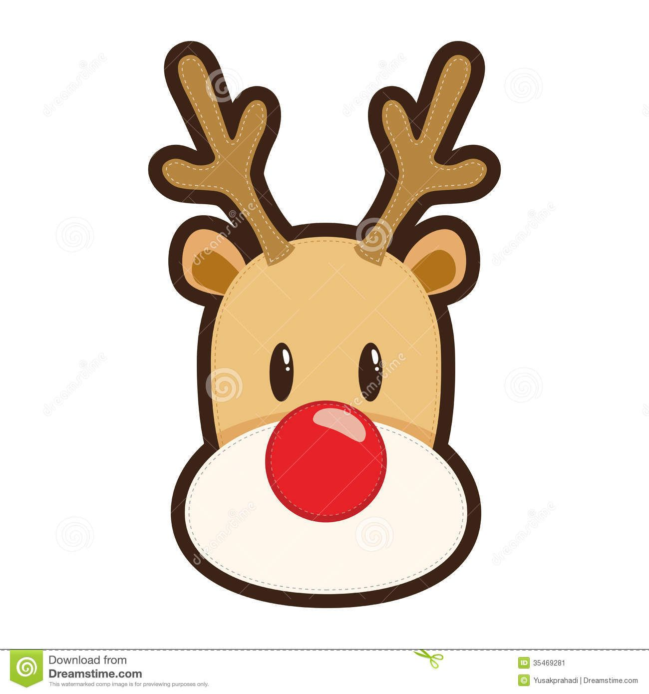 Christmas Reindeer Cartoon.Cartoon Illustration Of Rudolph The Red Nosed Reindeer White