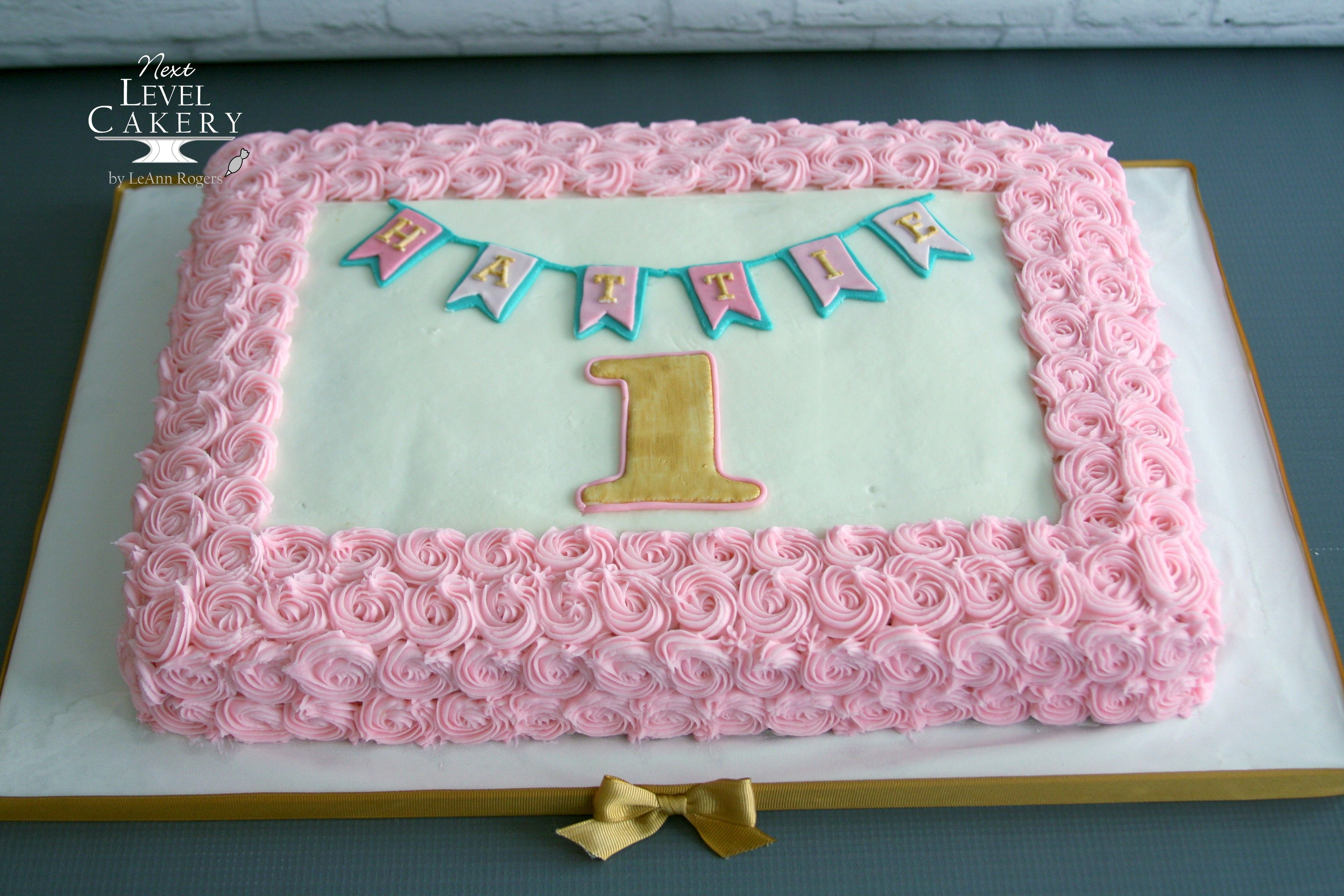 Pink And Gold Sheet Cake First Birthday Birthday Cakes Girls Kids