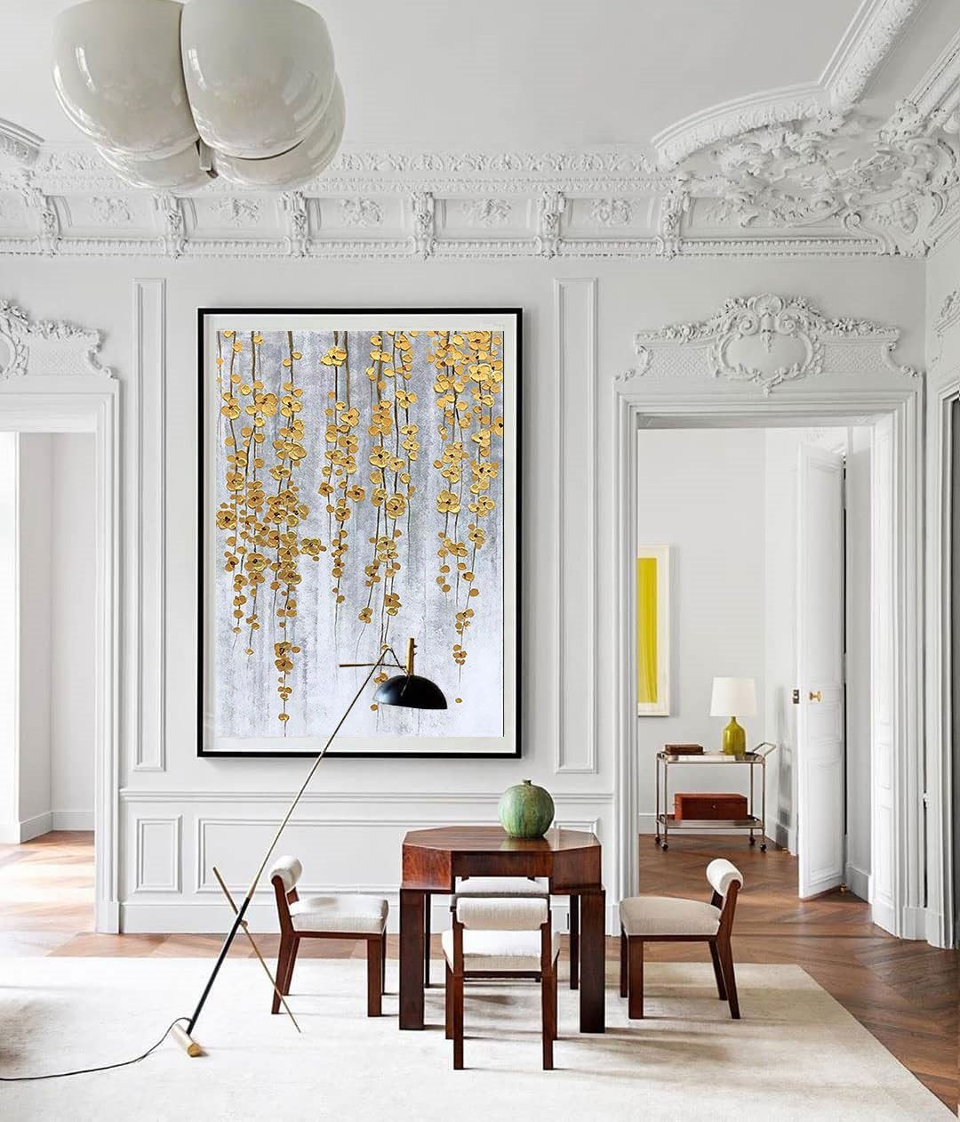 Large Gold Painting Gold Leaf Landscape Painting Contemporary Art Modern Painting Gray Canvas Painting Living Room Decor Wall Art Large Wall