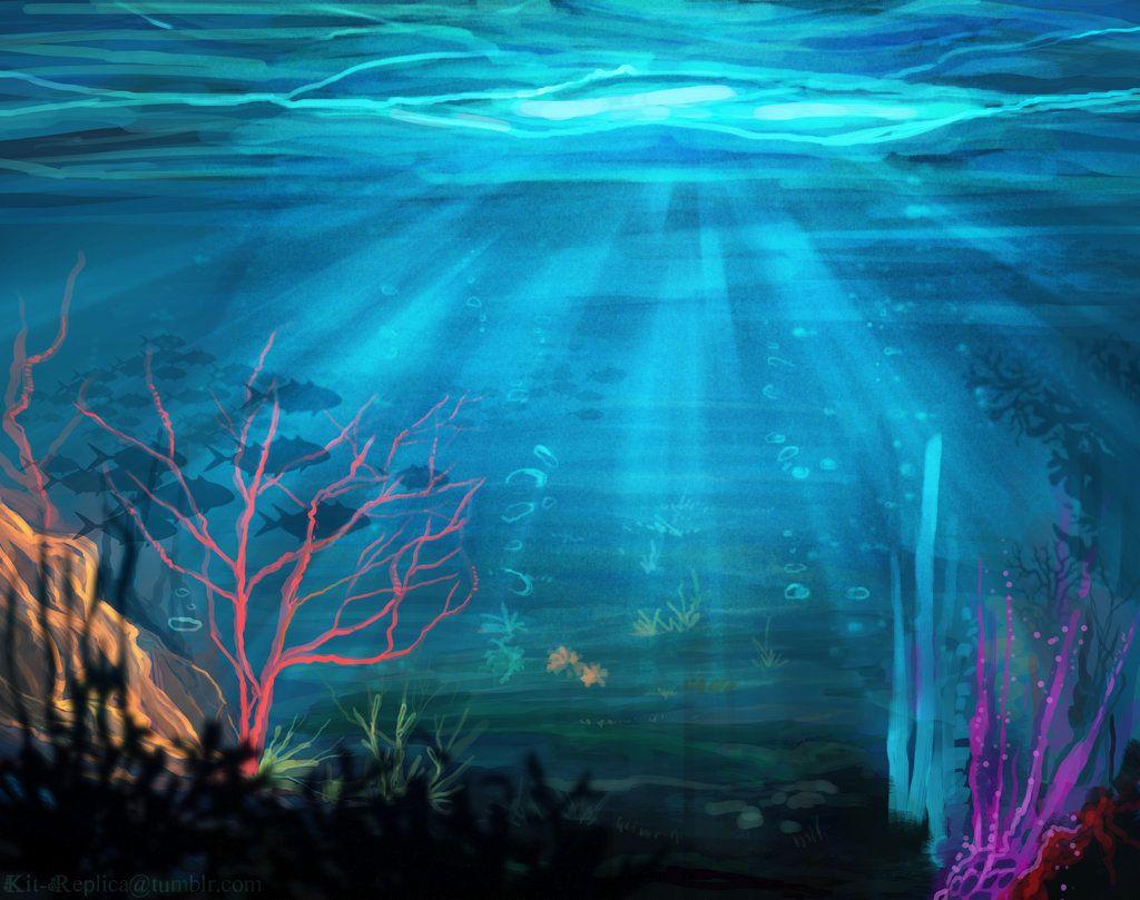 Underwater Landscape By Kt Exreplica Ocean Painting Ocean Mural Underwater Painting