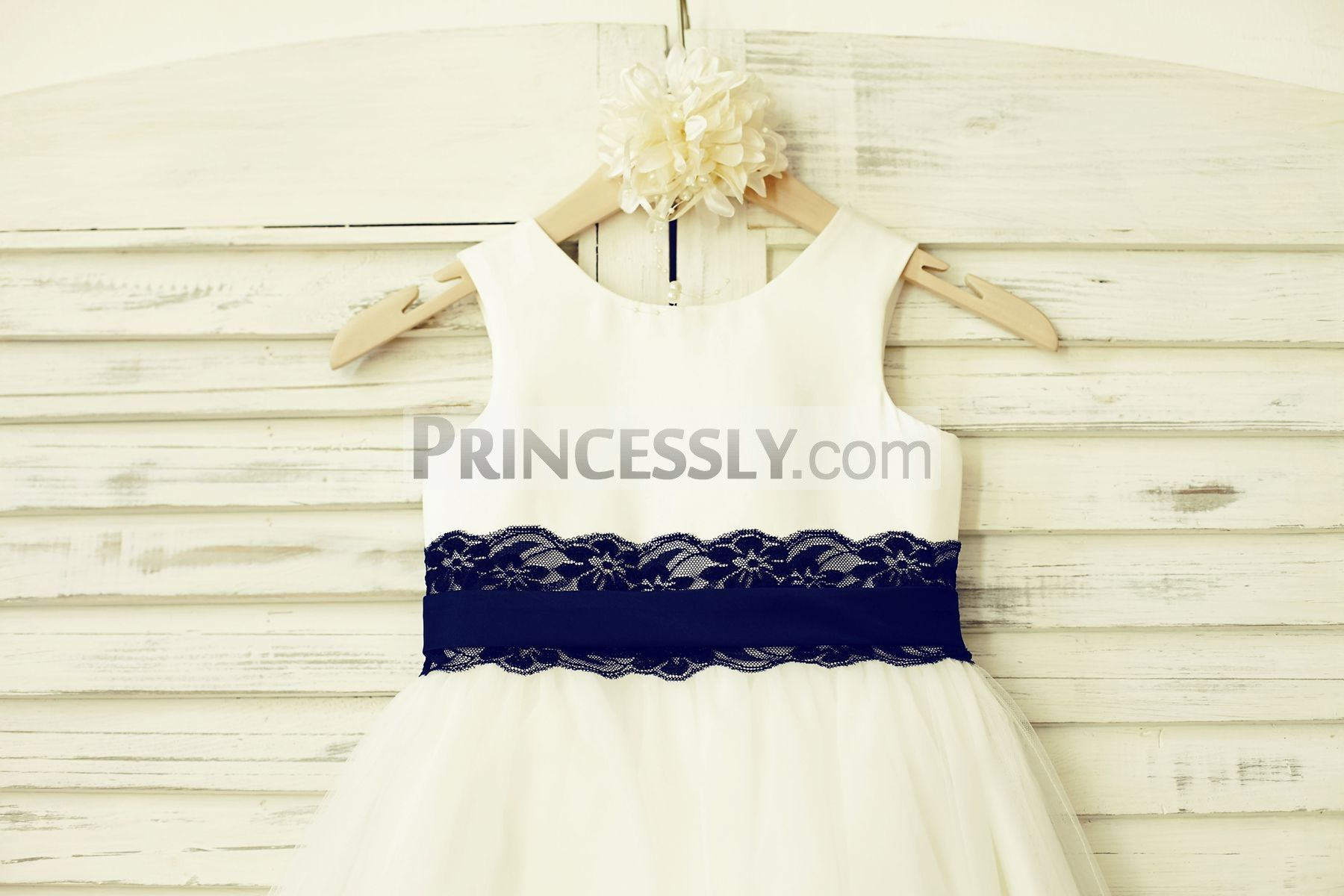 Ivory satin tulle flower girl dress with navy blue lace sash tulle