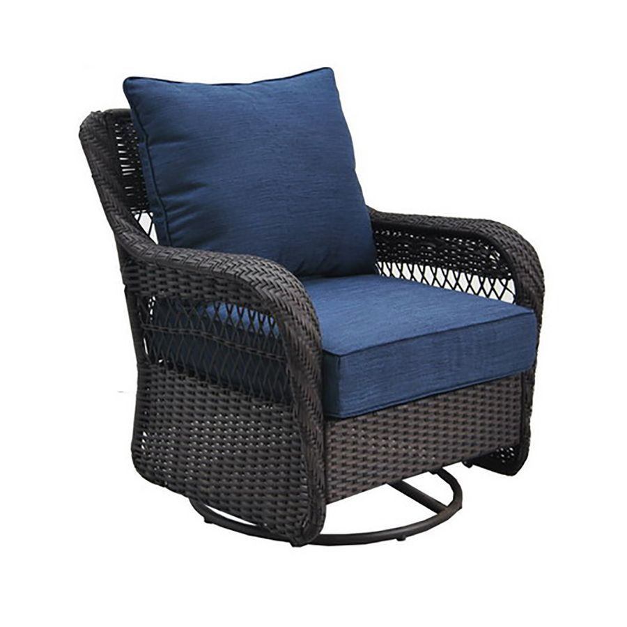 Allen roth glenlee brown wicker swivel glider patio conversation chair with a blue cushion