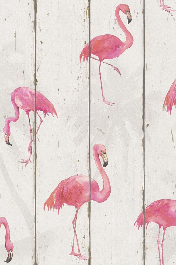 Fabulous Flamingo On Wood Panelling Wallpaper Design