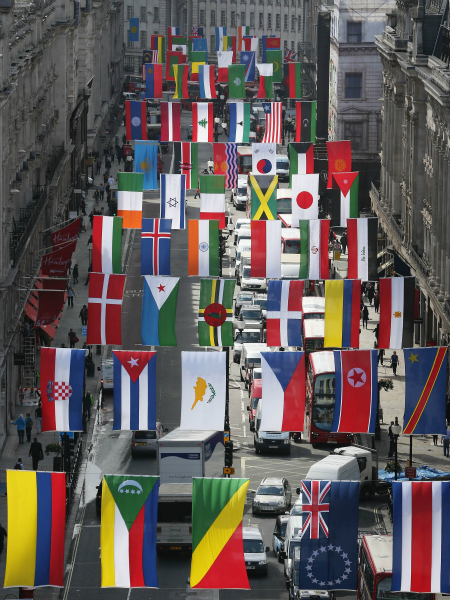 Amazing! 156 nations represented for the Olympics - flags go up in London's Regent Street