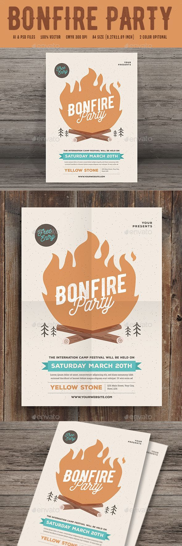 Bonfire Event Party  Bonfires Ai Illustrator And Party Flyer