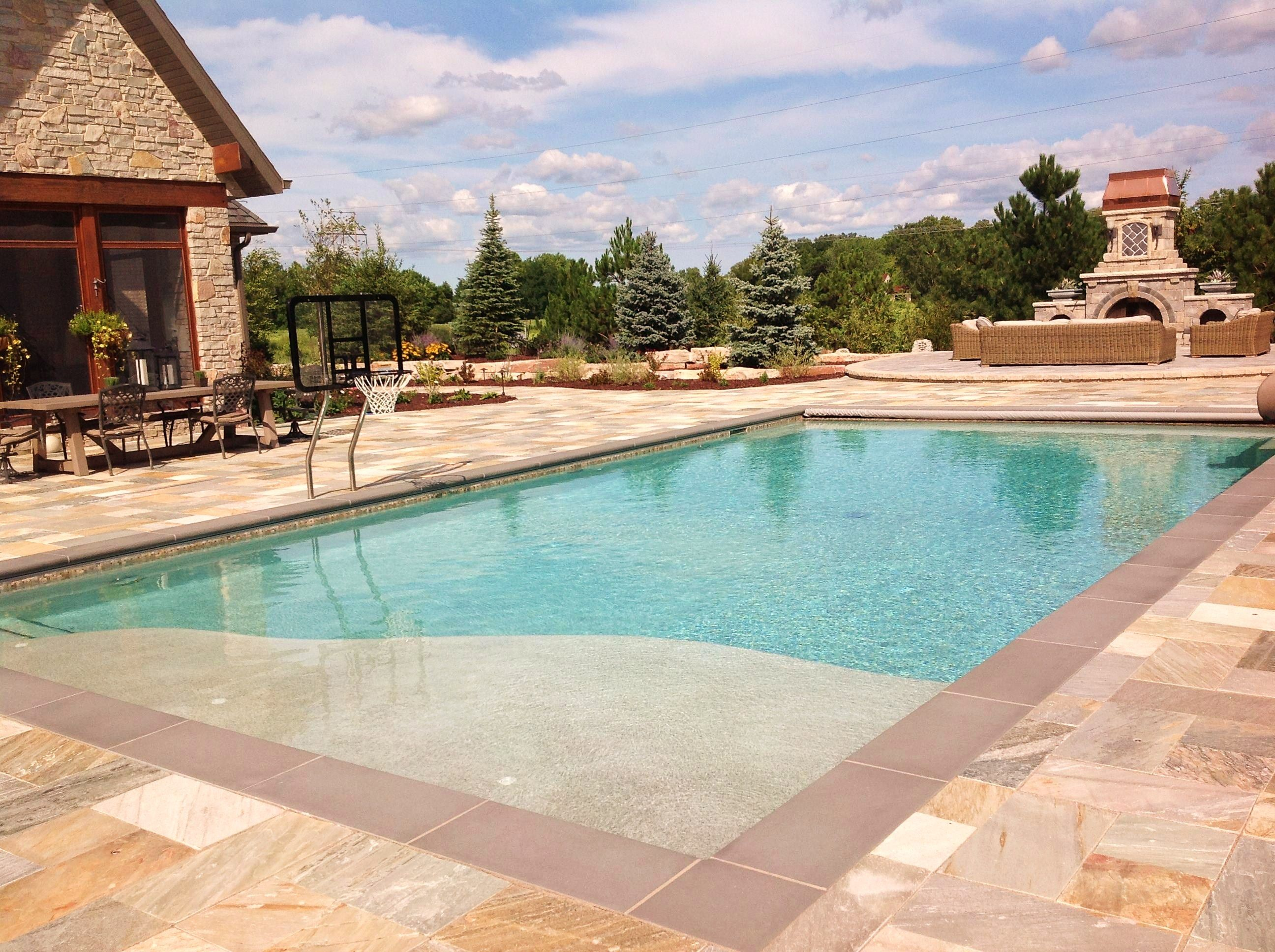 Concrete In Ground Pool With A Basketball Hoop And Slide In Ground Pools Swimming Pools Inground Pool