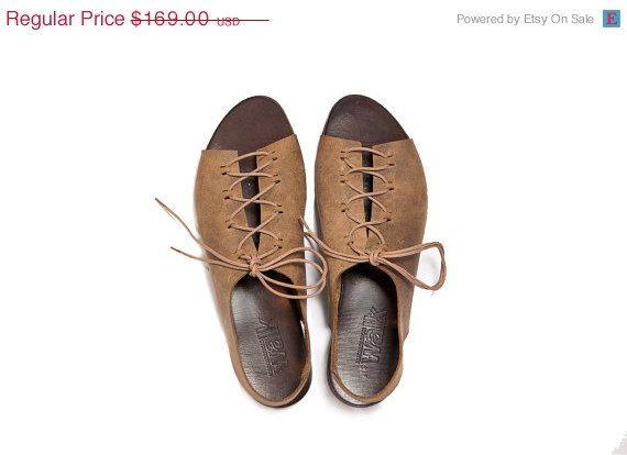 SALE 15% , Camel Gladiator leather sandal.. $143.65, via Etsy.