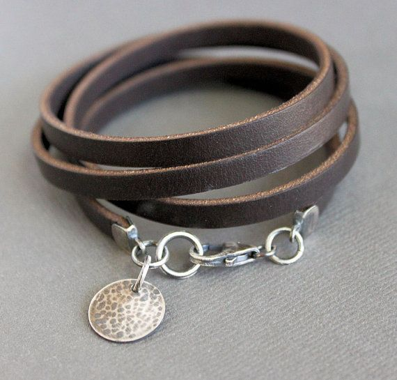 Reserved For Tamara Brown Leather Wrap Bracelet Sterling Silver