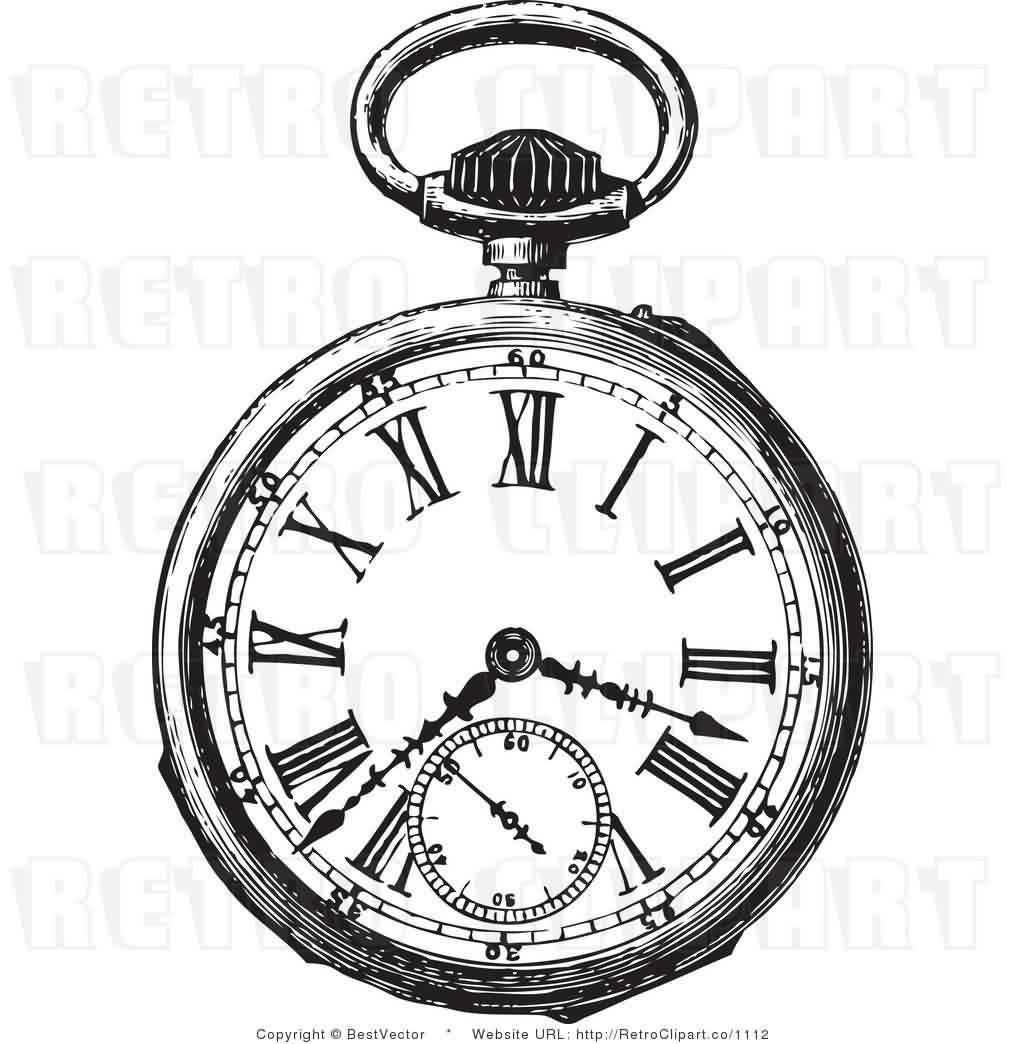 Clock Pocket Watch Tattoo On Right Waist Photo