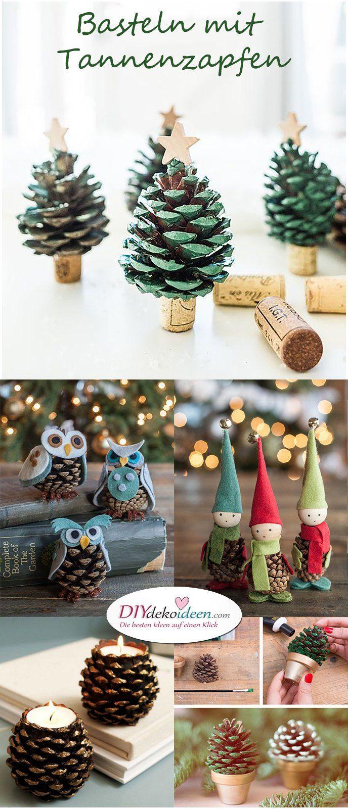 basteln mit tannenzapfen die 15 sch nsten diy bastelideen diy deko weihnachten winter. Black Bedroom Furniture Sets. Home Design Ideas