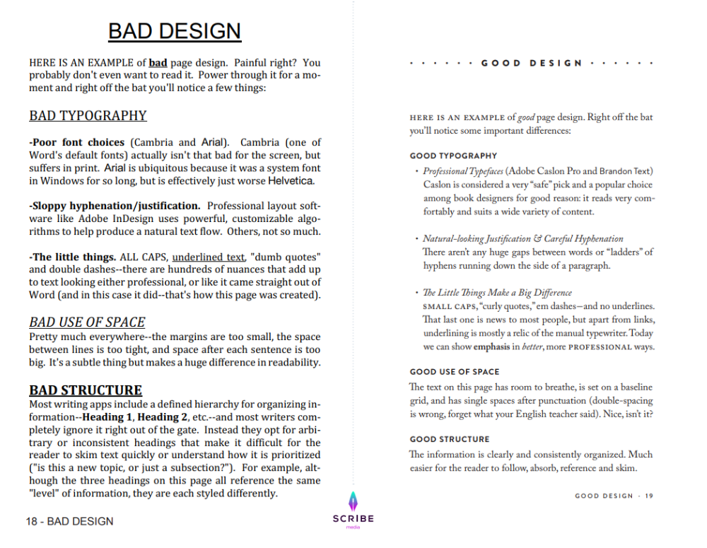 Scribe Guide To Designing Your Book Layout Book Layout Book Template Words