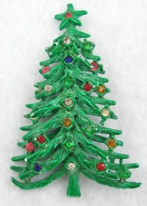 Green Enameled Christmas Tree Brooch - Garden Party Collection Vintage Jewelry