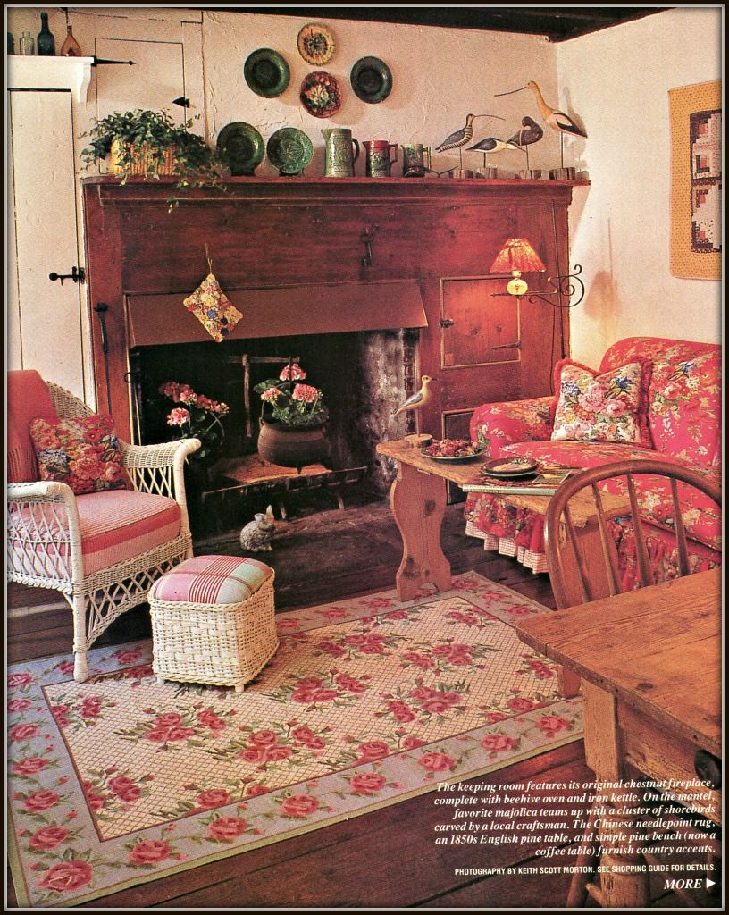 Rustic fireplace wood planked floor floral furniture - Floral country living room furniture ...