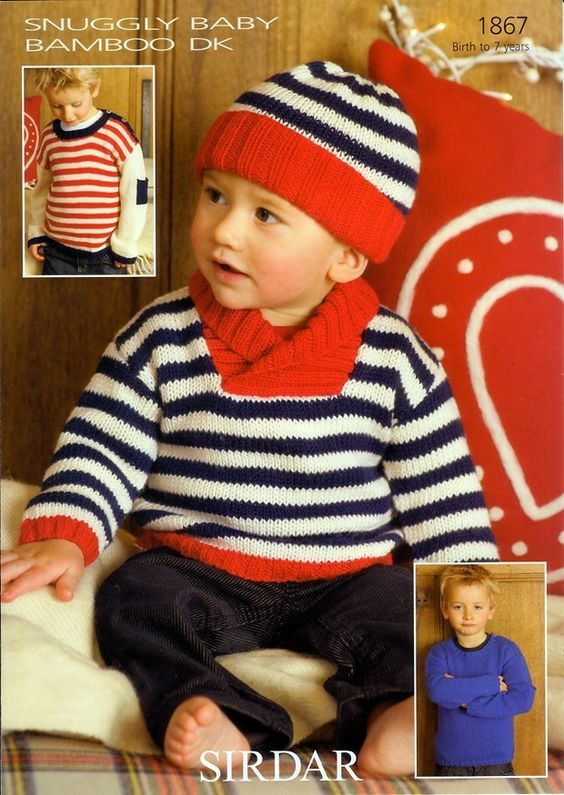 Sweaters and Hat in Sirdar Snuggly Baby Bamboo DK - 1867 - Babies - For - Patterns