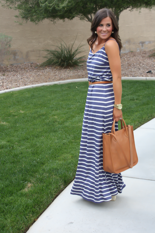 9938333b3 Gap Striped Maxi Dress, Blue Stripes, Summer, Madewell Tote | My ...