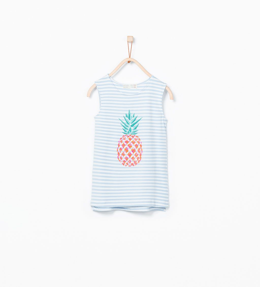 ZARA - KIDS - Fruit print T-shirt with sequin embroidery