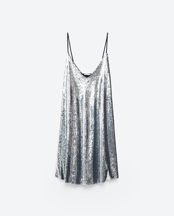33b28270 Slip dress à sequins argent Zara | Style | Sequin cocktail dress ...
