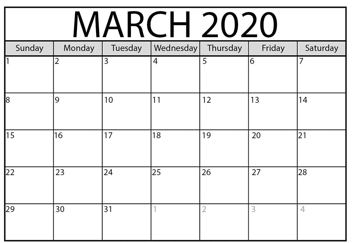 Print March Calendar Printable Blank Template